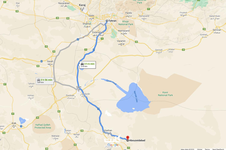 فاصله تهران تا کویر ابوزیدآباد