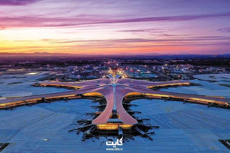 فرودگاه ستاره دریایی پکن هنگام شب