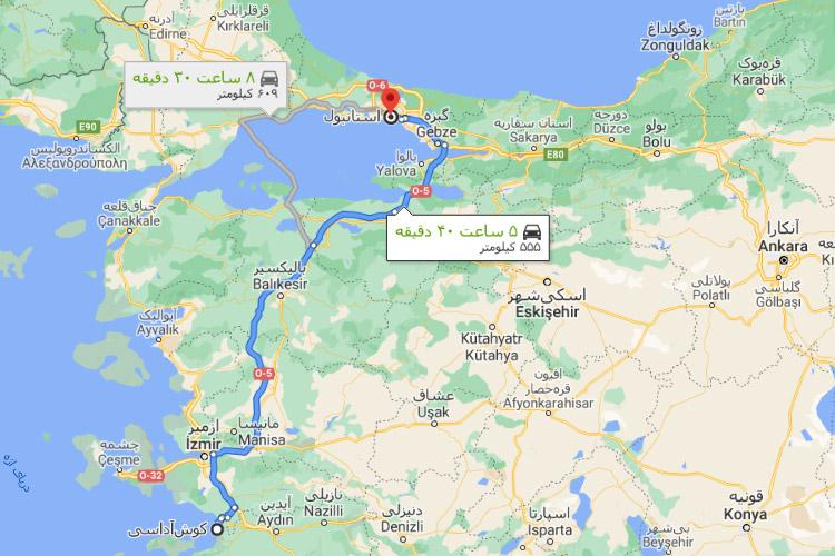 فاصله کوشآداسی تا استانبول
