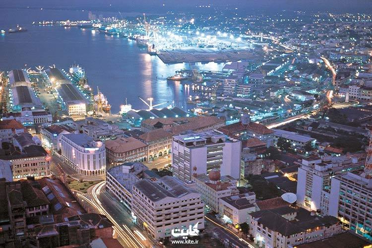 نمای شب از کشور سریلانکا