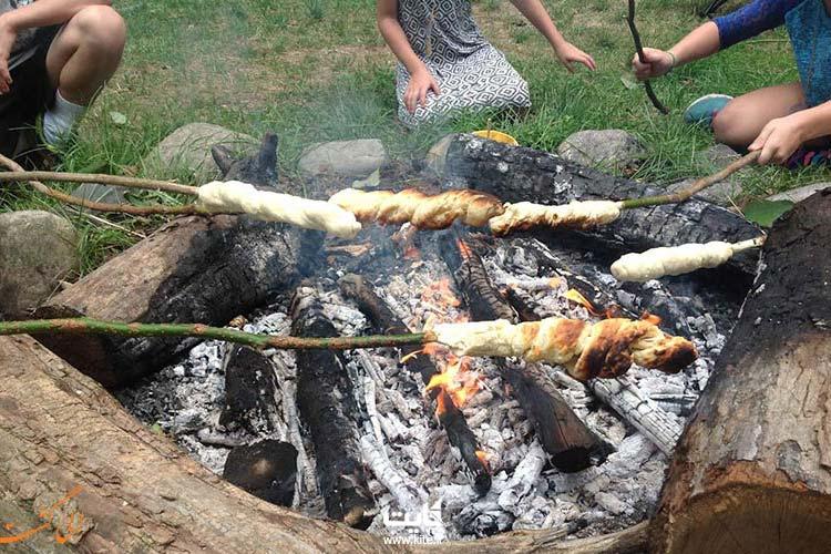 آشپزی در طبیعت با سیخ چوبی
