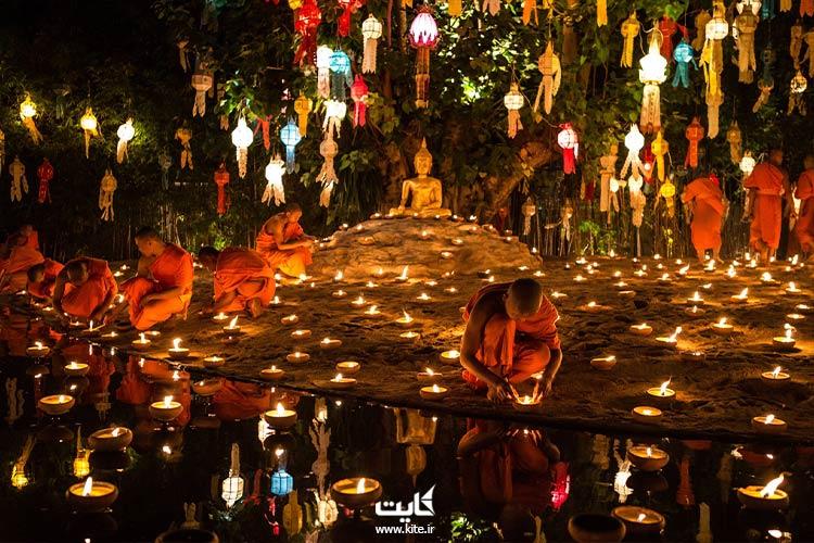 برگزاری جشن فانوس تایلند در معابد