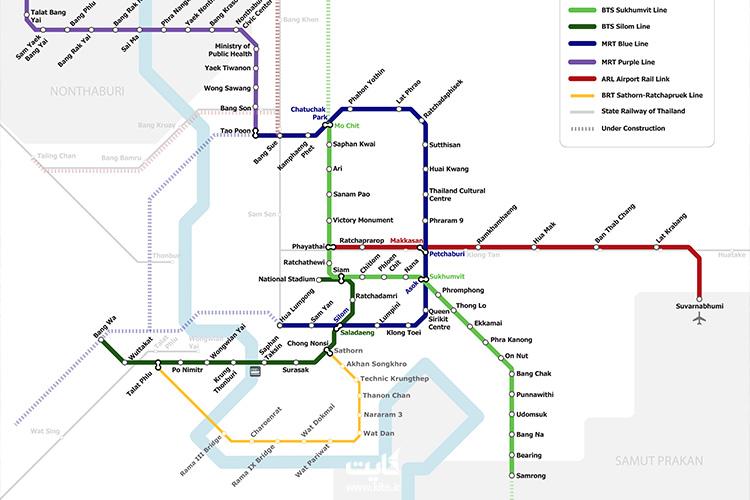 bangkok transit map - مسیر خطوط بانکوک
