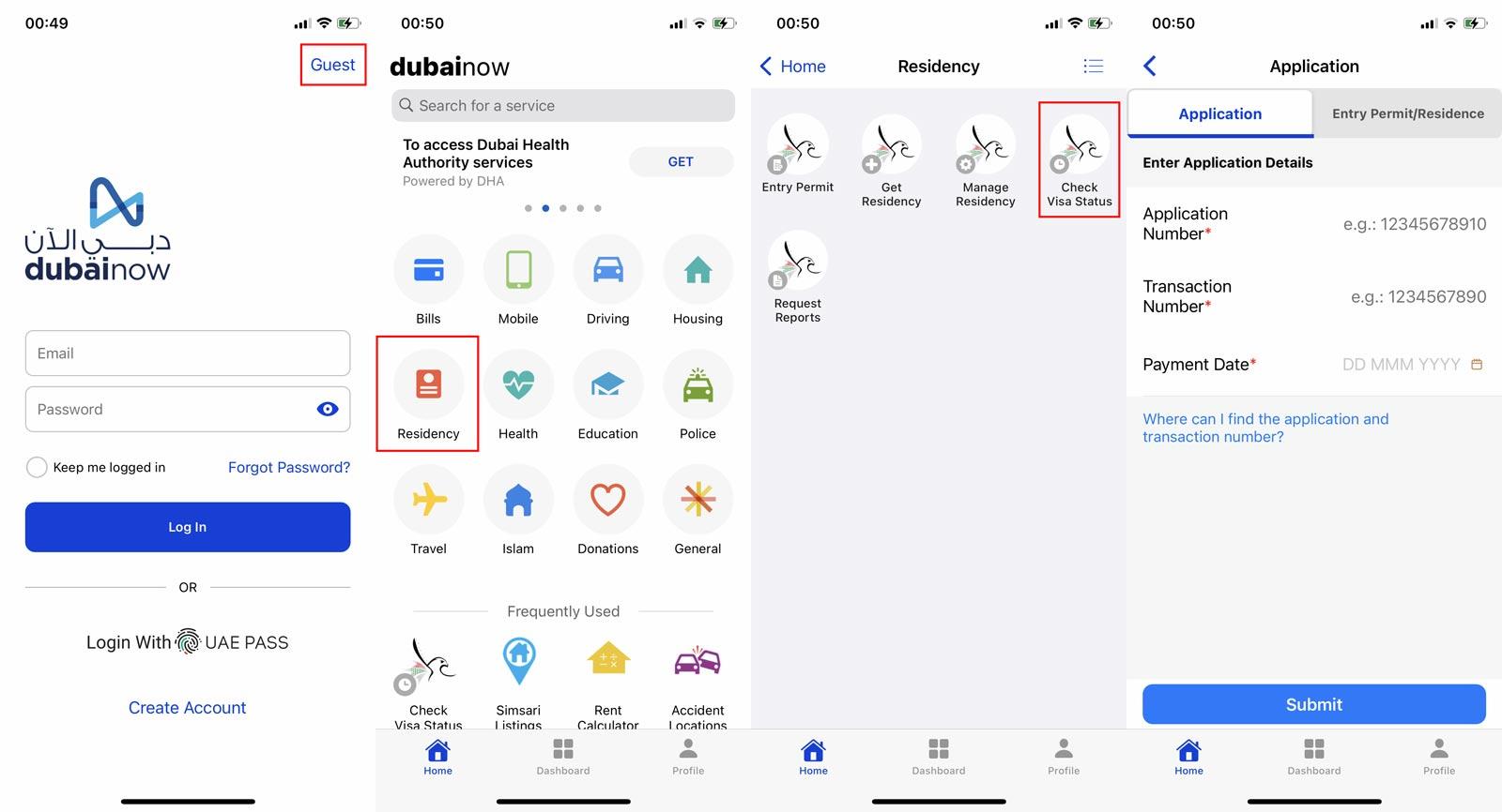 Check UAE visa status by dubai now application