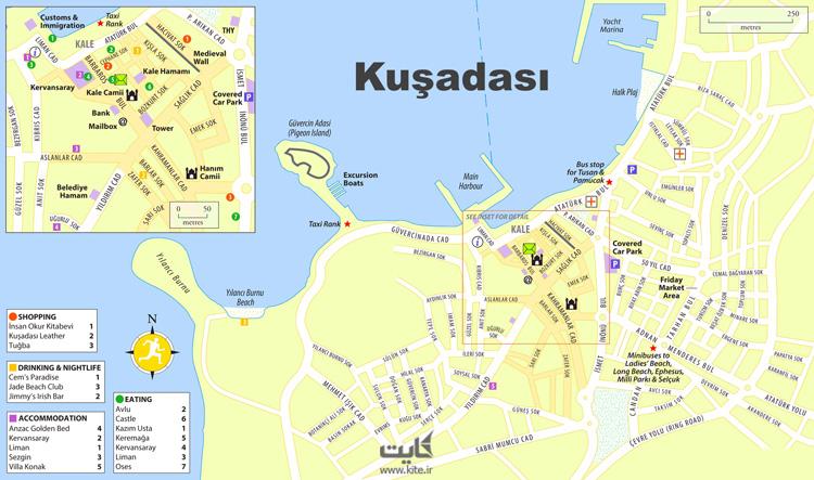 نقشه شهر کوش آداسی